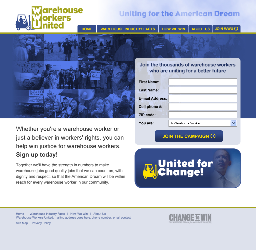 Warehouse Workers United • Website Design 2009