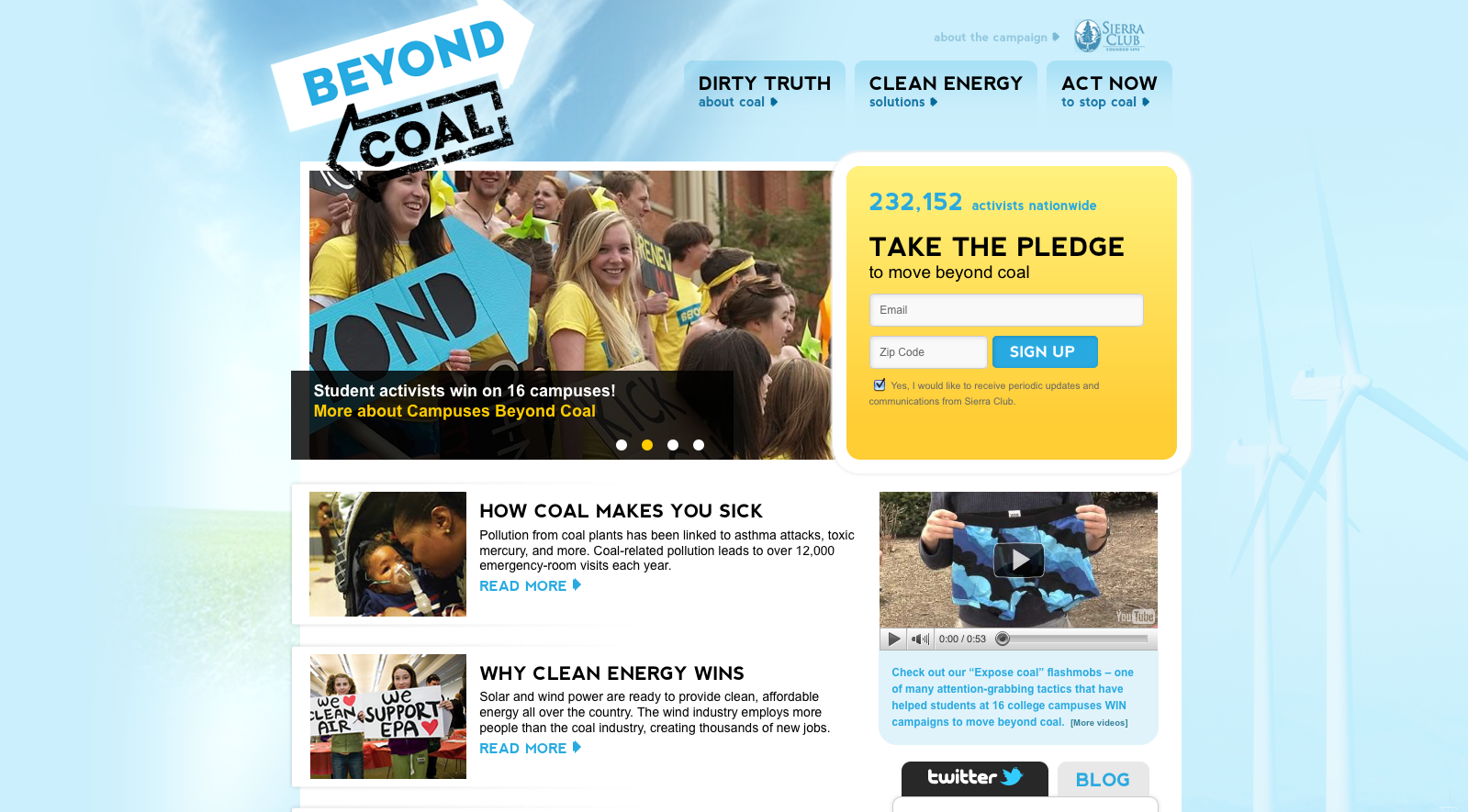BeyondCoal.org launched for the Sierra Club