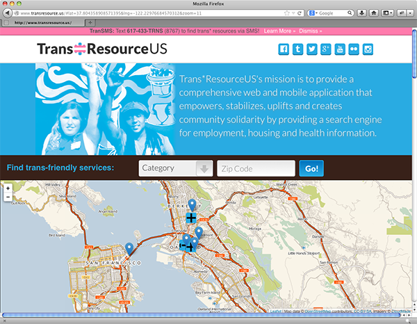 The Trans*Resource US homescreen