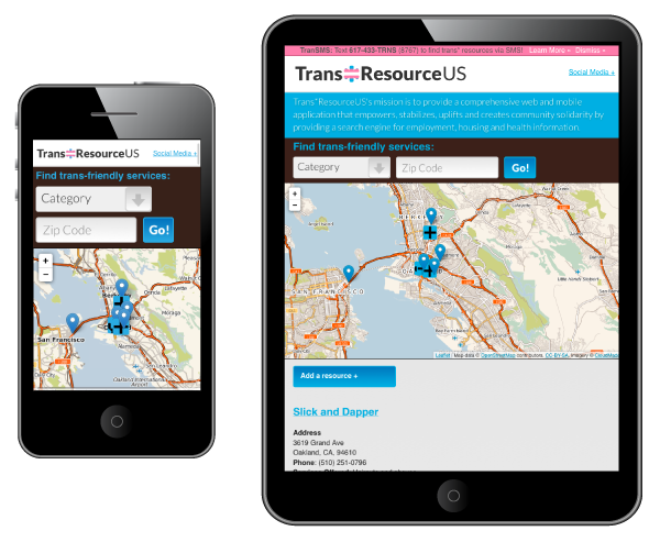 The Trans*Resource Us homescreen on mobile and tablet screens