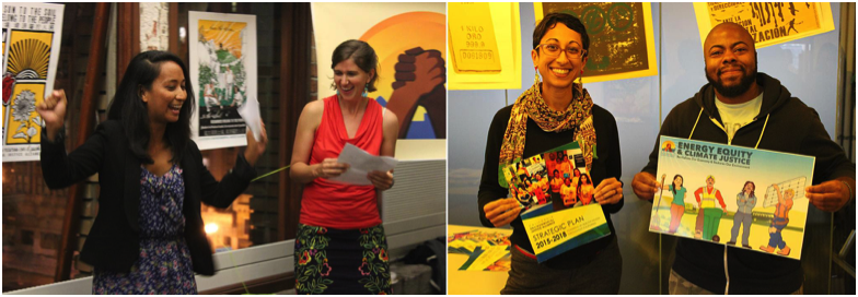 The CEJA victory party — Right: Strela Cervas and Amy Vanderwarker of CEJA give a speech about the battles won and inspire us to all keep working on these issues; Left: Sabiha and Kwesi holding materials we worked on. Photos by Kay Cuajunco.