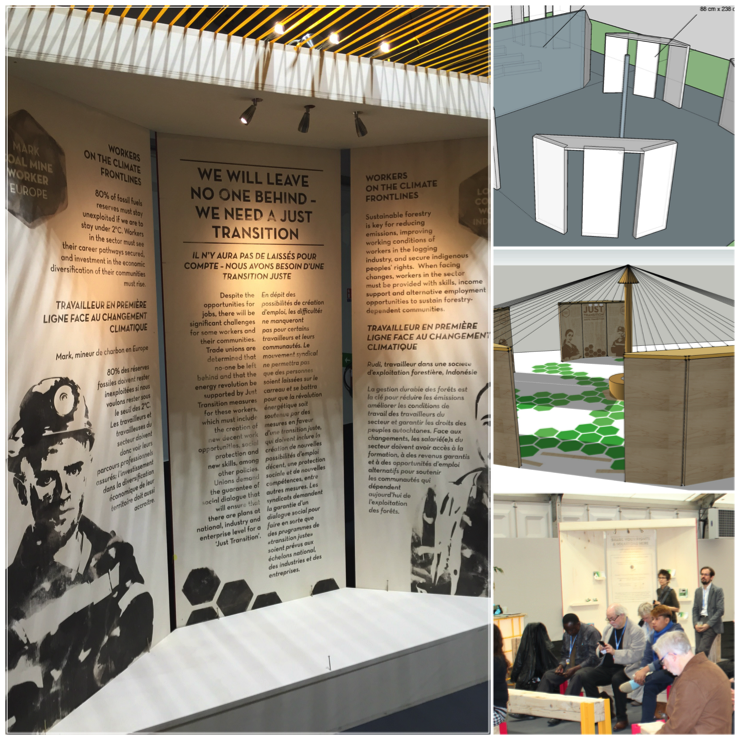 3-D renderings and final exhibition space construction for the International Federation of Trade Unions pavilion at COP21, Paris.