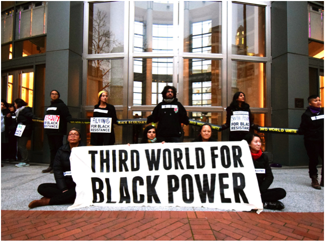 Activists targeted the Oakland Federal Building as a prime symbol of the U.S.'s longstanding oppression and violence against Black and other third world people here and all over the world. Photo by Josh Warren-White